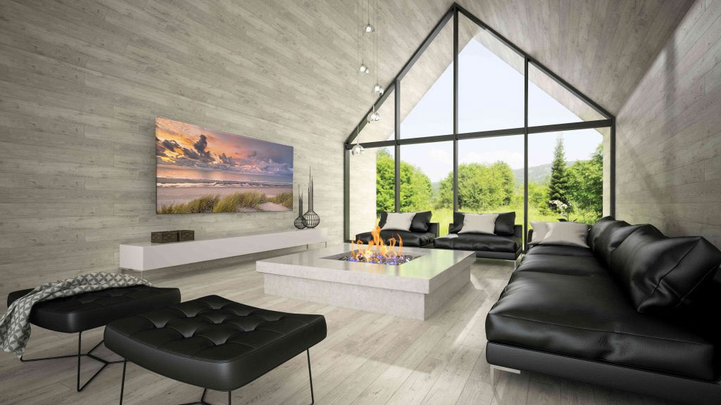 Wohnzimmer mit Infrarotheizung mit Bild