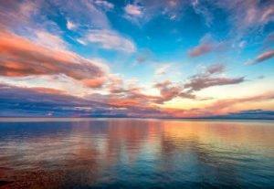 Sonnenuntergang am See Infrarotheizung